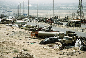 Highway of Death - Wrecked and abandoned vehicles along Highway 80 in April 1991