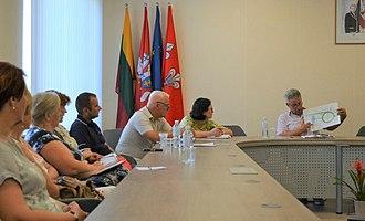 Flag and coat of arms of Jurbarkas - Image: Deputy mayor of Jurbarkas during meeting