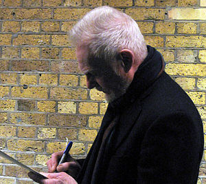 "Derek Jacobi - Jacobi signing autographs after his performance in ""Twelfth Night"", London, 2009"