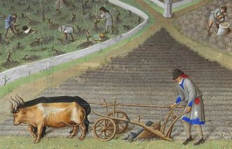 Monogamy - Plough agriculture. The castle in the background is Lusignan. Detail from the calendar Les très riches heures from the 15th century. This is a detail from the painting for March.