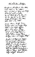 Handschrift des Autors: Das Lied der Deutschen als Faksimile aus der Sammlung Berlinka (Quelle: Wikimedia)