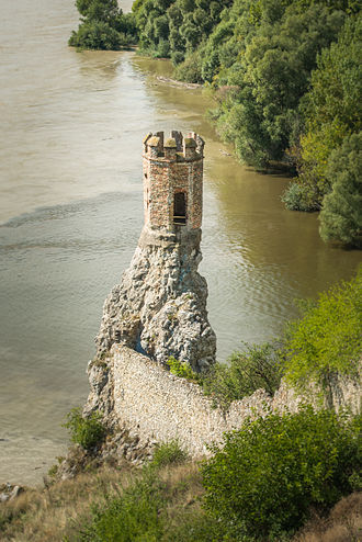 Devín Castle - View of the Maiden Tower above the confluence of Danube and Morava rivers