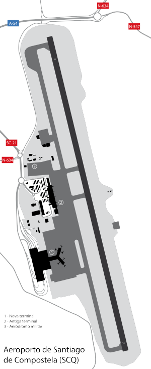 Santiago de Compostela Airport - Diagram of the airport