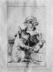 Dibujo preparatorio Capricho 40 Goya