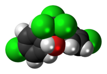 Space-filling model of the dicofol molecule