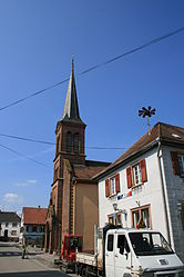 The church and town hall in Dieffenbach-lès-Wœrth