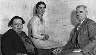 Anson Goodyear - Artists Diego Rivera, Frida Kahlo, and Goodyear (on the right) in 1931