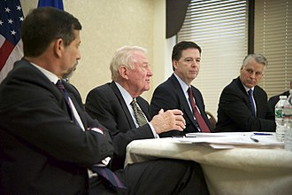 Edwin Meese - Meese (center left) discusses the findings of the 9/11 Review Commission with FBI director James Comey in 2015