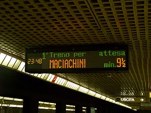 Milan Metro - The LED screen announcing waiting time in Italian.