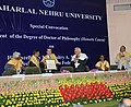 Dmitry A. Medvedev being conferred the Degree of Doctor of Philosophy (Honoris Causa), at a Special Convocation of the Jawaharlal Nehru University.jpg
