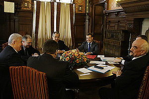 Vladimir Voronin - Voronin at a meeting with Medvedev and Smirnov in Barvikha on 18 February 2009, at which Transnistria  issues were discussed.