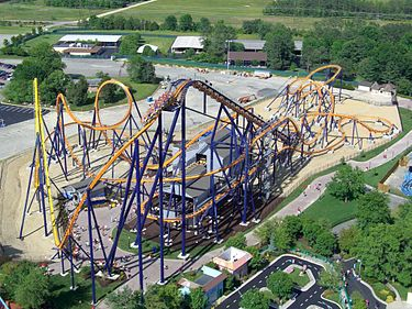 Dominator, a Bolliger & Mabillard floorless roller coaster formerly located at Geauga Lake, opened in 2008 in International Street. Dominator is the longest floorless roller coaster in the world, with the fourth largest vertical loop in the world Dominator (Kings Dominion) 02 Full Layout.jpg