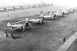 Douglas Municipal Airport (Georgia) - rows of PT-17 Boeing Stearmans at Douglas, about 1943