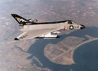 Douglas F4D Skyray - A F4D-1 of VF(AW)-3 in flight over San Diego.