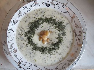 Azerbaijanis in the United Kingdom - Dovga, a yoghurt soup cooked with a variety of herbs.