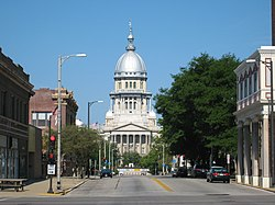The Illinois State Capitol as seen from Capitol Avenue