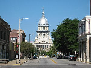 Springfield, Illinois - The Illinois State Capitol as seen from Capitol Avenue