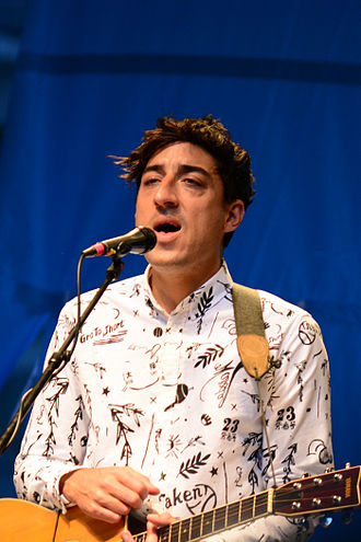 Ed Droste - Ed Droste performing with Grizzly Bear at the 2013 CBGB Festival in Times Square