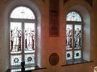 Dublin Writers Museum - Image: Dublin Writer's Museum stained glass windows
