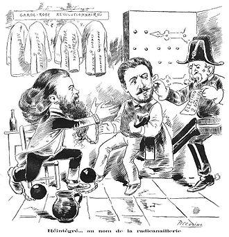 Ernest Roche - Duc-quercy and Ernest Roche Réintégré... au nom de la radicanaillerie. From La Cravache illustrée, 10 May 1886