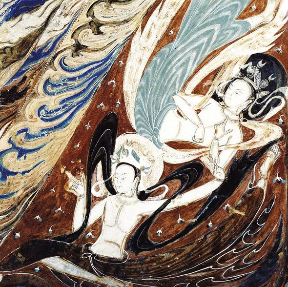 File:Dunhuang mural flying apsarasa.jpg