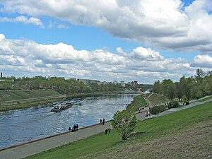 Transport in Belarus - A ferry crossing the Daugava river in Vitebsk
