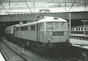 Stone Faiveley AMBR Pantograph - Stone Faiveley pantograph in raised position on British Rail Class 86 25kV ac Bo-Bo locomotive No.E3146 (later 86 017), London Euston, April 1969.