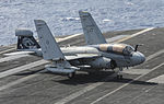 EA-6B of VAQ-142 on USS Nimitz (CVN-68) 2013.JPG