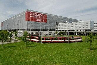 Merkur Spiel-Arena - Exterior view of Merkur Spiel-Arena (still branded as Esprit Arena) and Stadtbahnwagen B