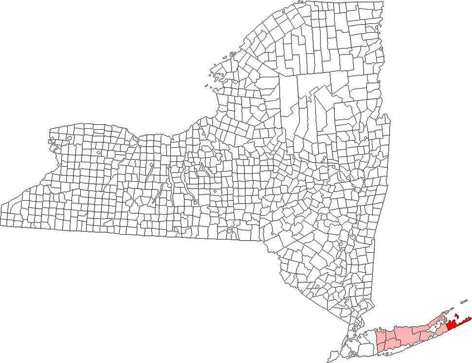 Location of East Hampton in Suffolk County, New York
