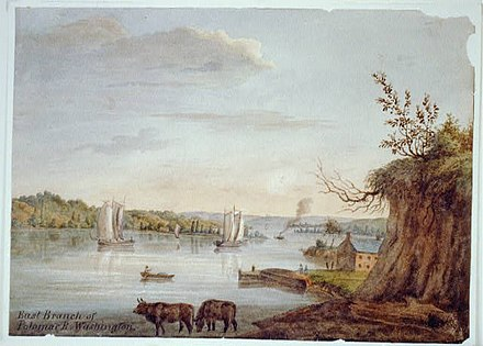 East Branch of the Potomac (now called the Anacostia River) near its confluence with the mainstem Potomac in Washington. (Watercolor drawn in 1839 by Augustus Kollner) East Branch of the Potomac 1839 (via xparency) LOC.jpg