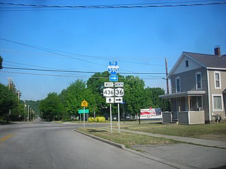 New York State Route 36 - The eastern terminus of NY 436 at NY 36 in Dansville