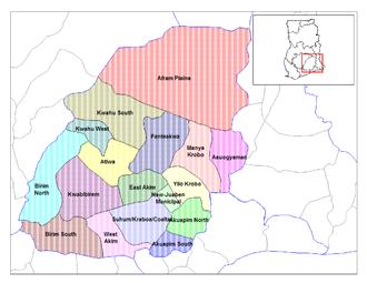 Eastern Region (Ghana) - Image: Eastern Ghana districts