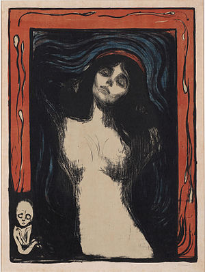 Madonna (Munch painting) - Color lithograph from Ohara Museum of Art. 1895–1902. 60.5 × 44.4 cm (23.8 × 17.5 in).