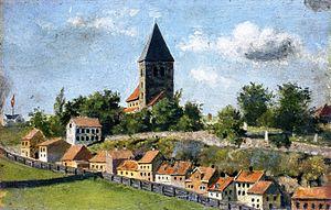 Old Aker Church - Telthusbakken with Gamle Aker kirke  Edvard Munch (1880)