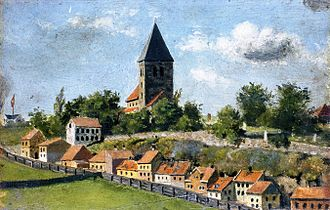 Old Aker Church - Telthusbakken with Gamle Aker kirke  Edvard Munch (1880)