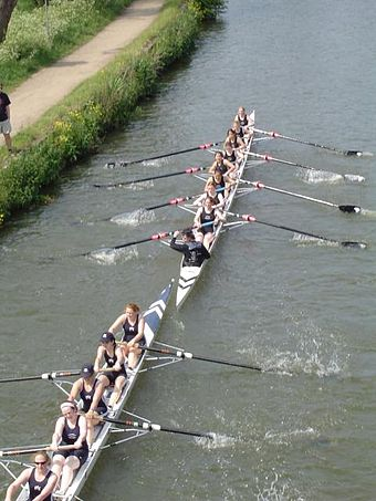 Rowing at Summer Eights, an annual intercollegiate bumps race Eights 2005.JPG