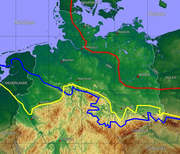 Ice age map of northern central Europe. Red: maximum limit of Weichselian ice age; yellow: Saale ice age at maximum (Drenthe stage); blue: Elster ice age maximum glaciation.
