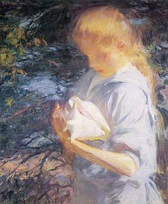 American Impressionism - Frank W. Benson, Eleanor Holding a Shell, North Haven, Maine, 1902, private collection.