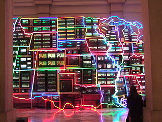 Nam June Paik - Electronic Superhighway: Continental U.S., Alaska, Hawaii 1995-96. It is exhibited at the Smithsonian American Art Museum