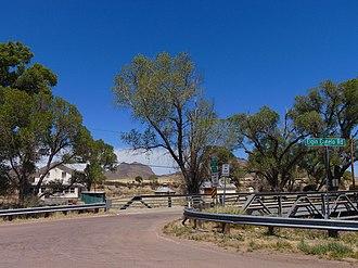 Elgin, Arizona - View across Babocomari Creek toward the site of the railroad depot.