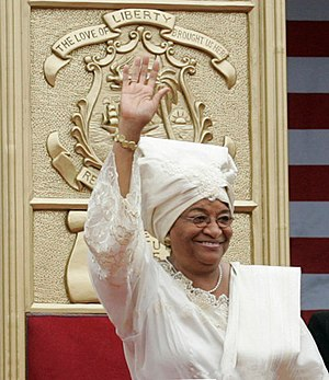 Liberian President Ellen Johnson Sirleaf waves...