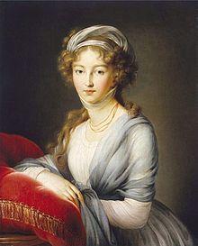 Großfürstin Elisabeth Alexejewna 1795, Elisabeth Vigée-Lebrun, Schloss Wolfsgarten. Dieses Bild schenkte Elisabeth ihrer Mutter Amalie von Baden (Quelle: Wikimedia)