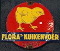Enamel advertising sign, Flora's Kuikenvoer, Dordt.JPG