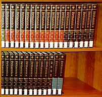 Encyclopaedia Britannica, 15th edition, with Britannica book of the year 2002, with white library labels.