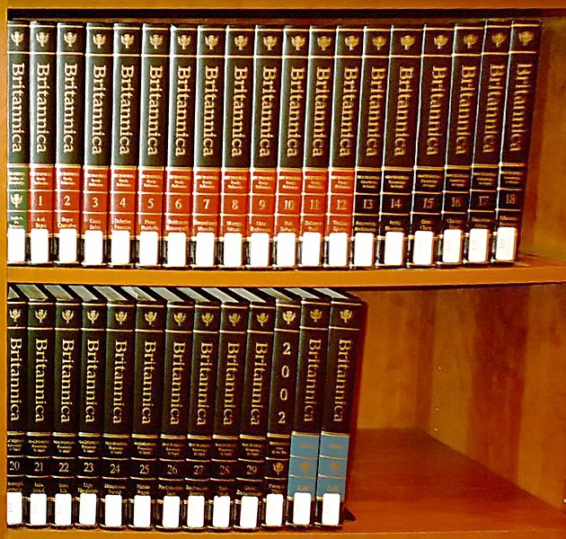 Encyclopaedia Britannicas on Bookshelf