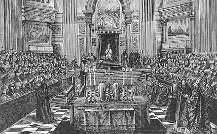 The First Vatican Council presided over by Pius IX Engraving of First Vatican Council.jpg