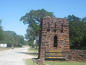 Bastrop State Park - Entrance to Bastrop State Park off Texas State Highway 21