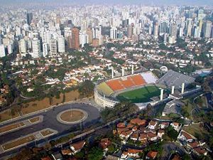 Pacaembu Stadium - Aerial view of the Stadium and Charles Miller Square