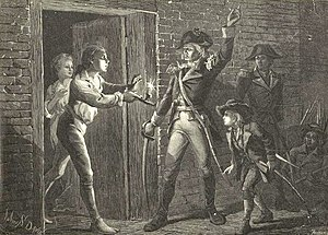A very dark black-and-white print. Ethan Allen is shown in the center, wearing a military uniform.  His left hand is raised, and his right hand holds a sword.  He is facing left toward the doorway to a stone house.  There is a man in the doorway, holding a lit candle.  A woman is visible behind this man.  On the right side of the print, behind and to Allen's left, are a boy and two uniformed men, only dimly visible.